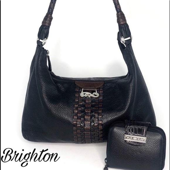 Brighton Handbags - Brighton Black  Leather Shoulder Bag & Wallet
